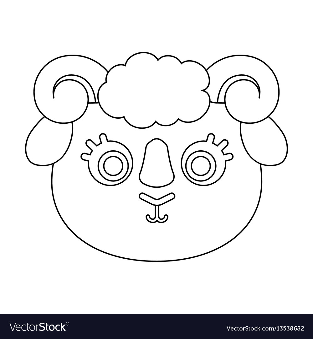 Ram muzzle icon in outline style isolated on white vector image