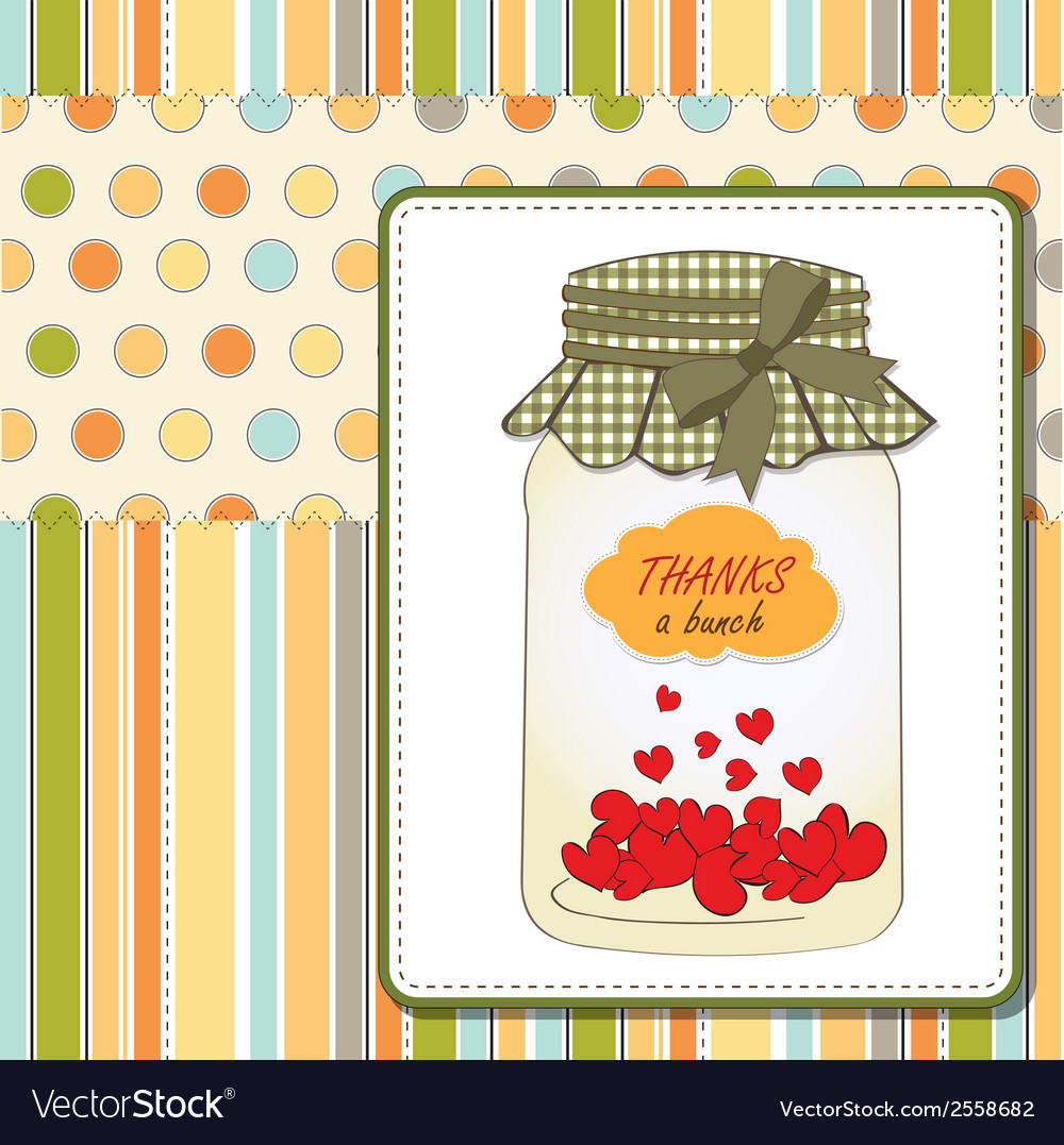 Thank you greeting card with hearts plugged into vector image kristyandbryce Images