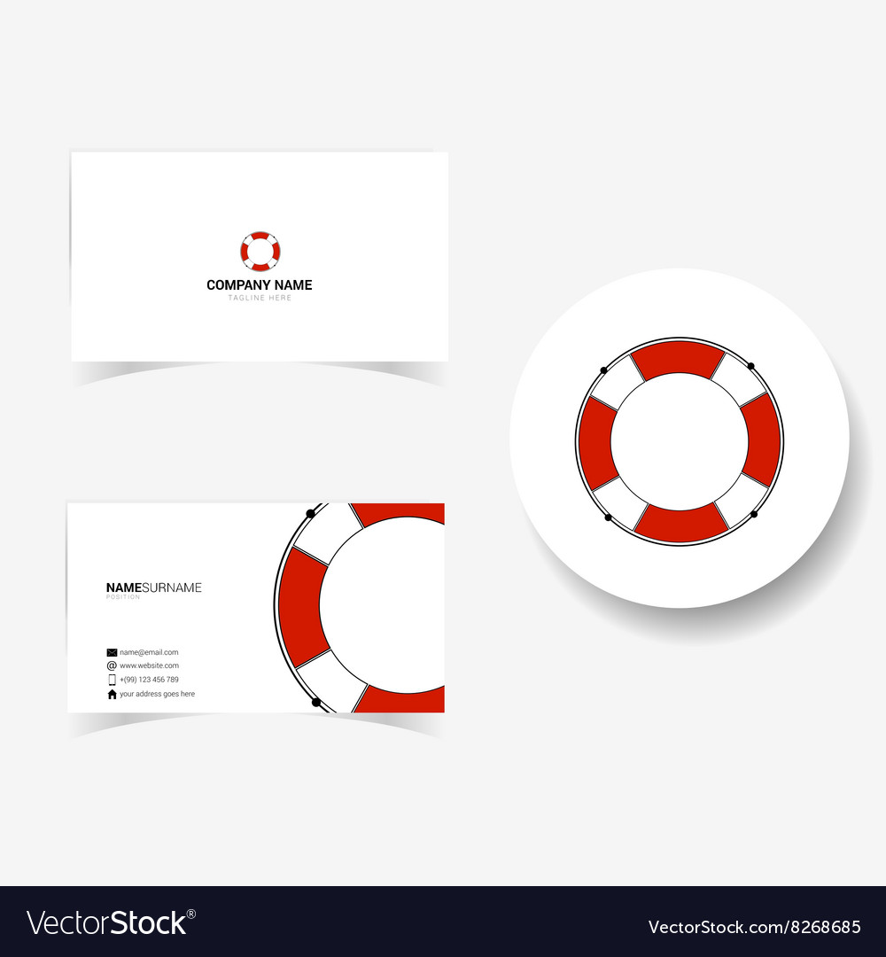 Business card with live saver Royalty Free Vector Image