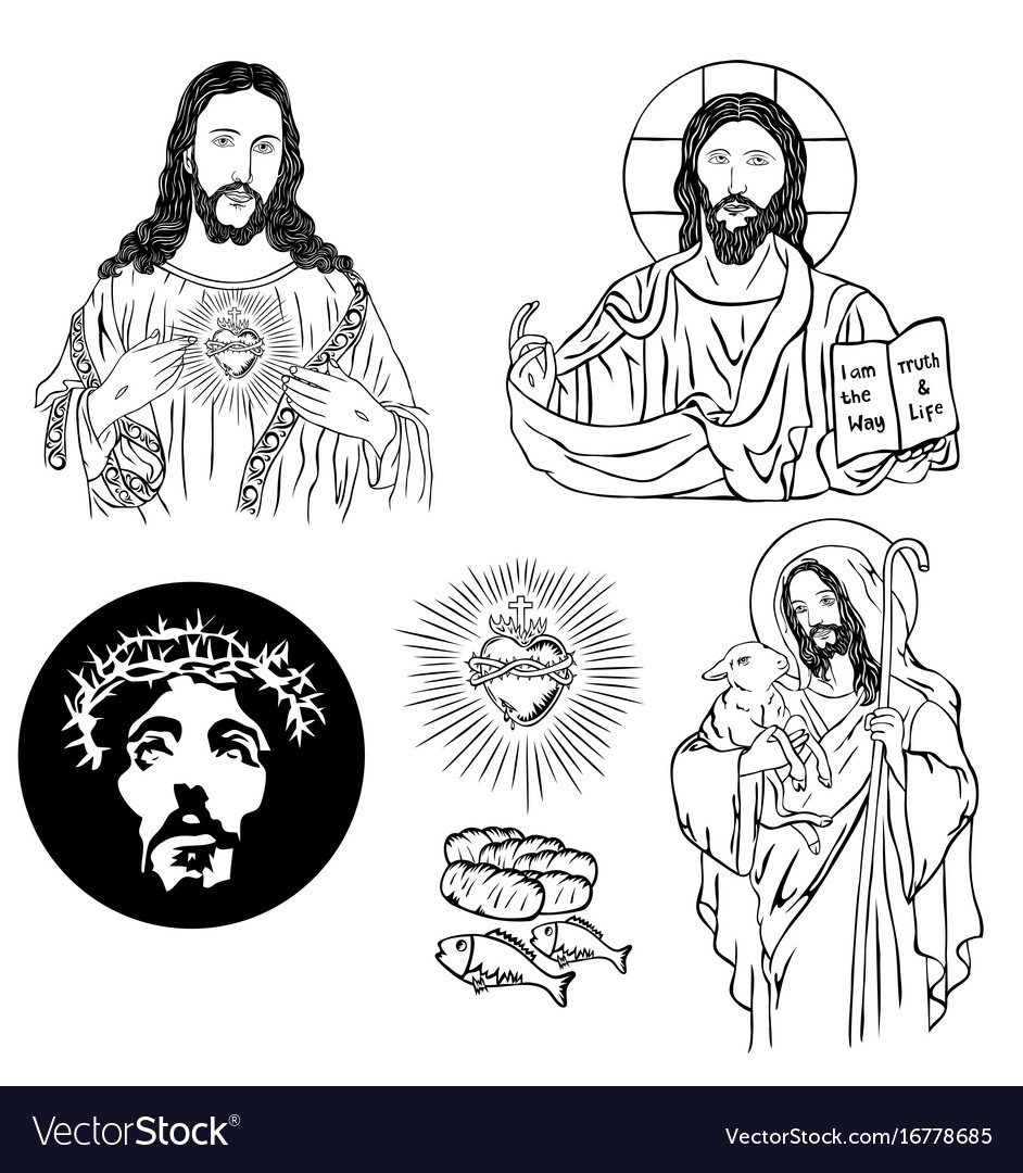 Christian icon sketch and drawing collection vector image