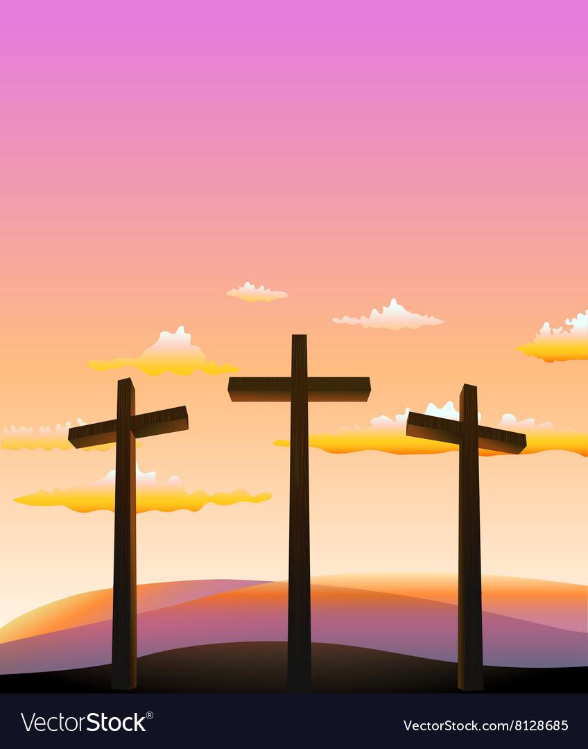 Three crosses on the Calvary vector image