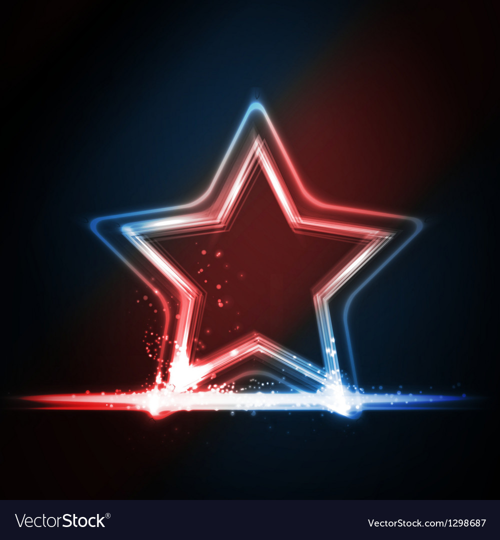 Red blue white glowing frame shaped as a star vector image