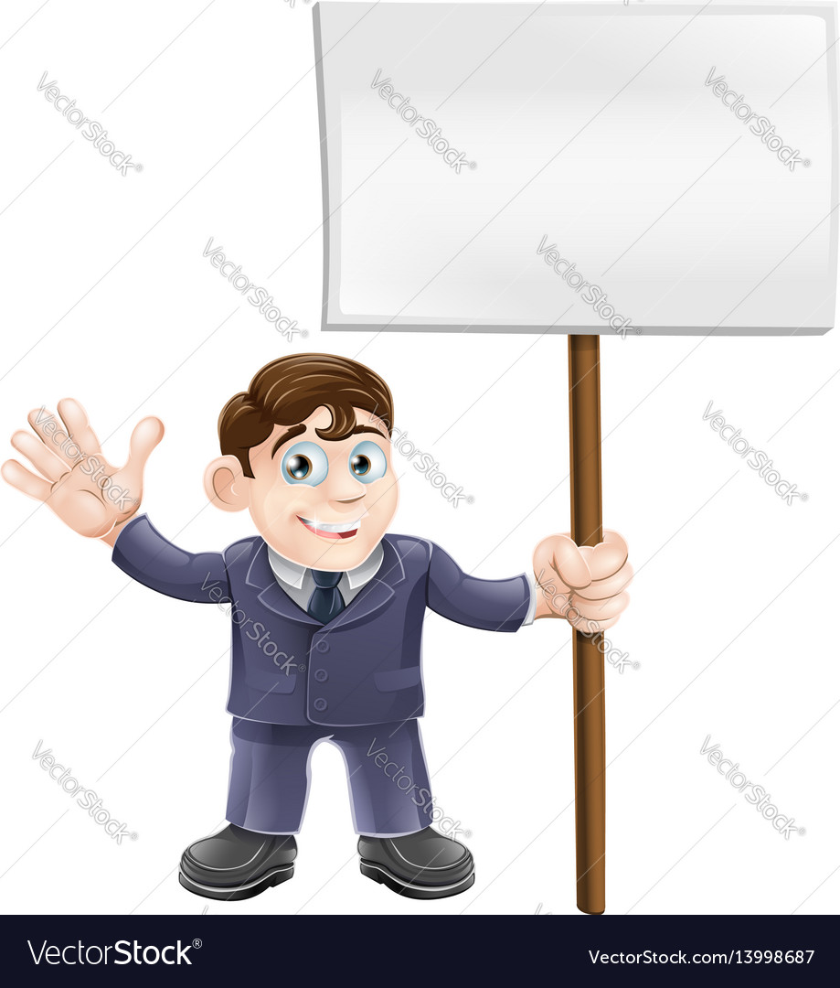 Businessman holding sign vector image