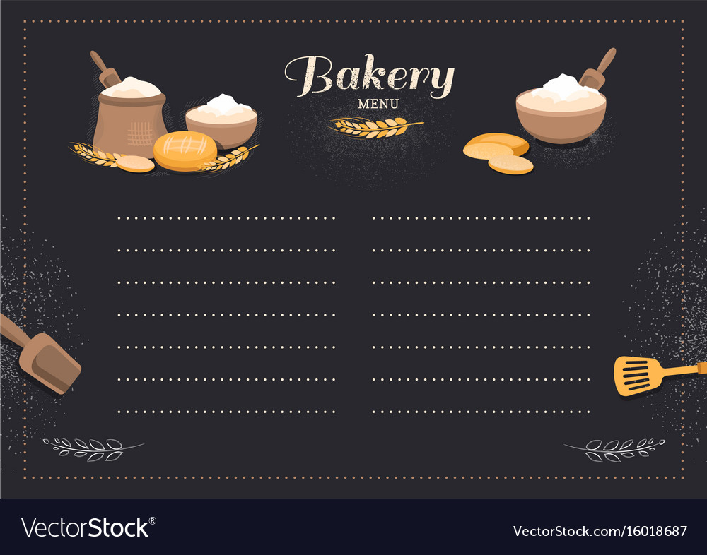 Menu template cafe bakery vector image