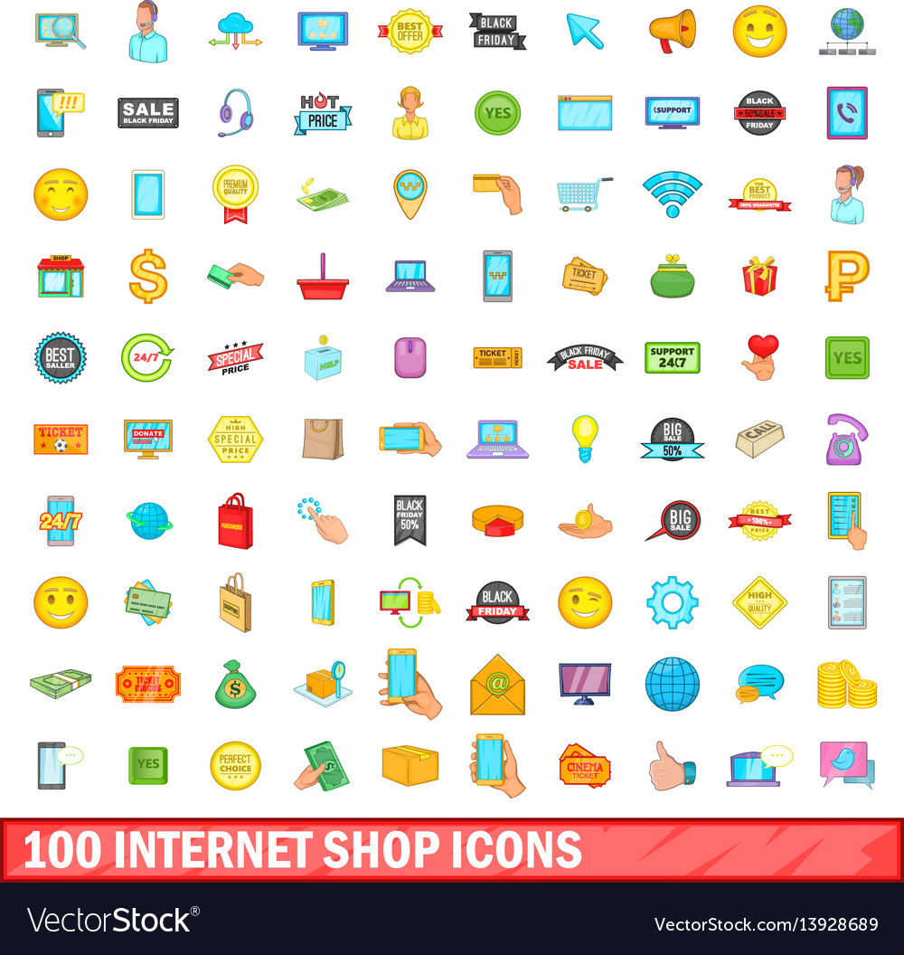 100 internet shop icons set cartoon style vector image