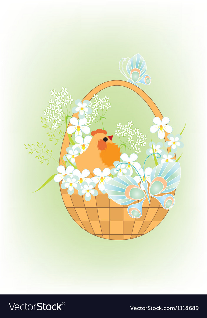 Chicken in a basket2 vector image