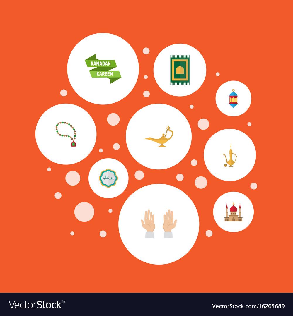 Flat icons islamic lamp prayer carpet pitcher vector image