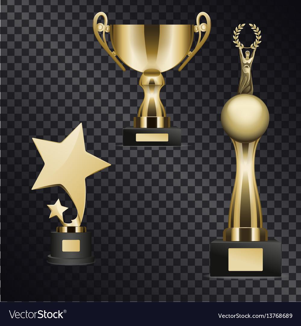 Realistic golden trophy cups set vector image