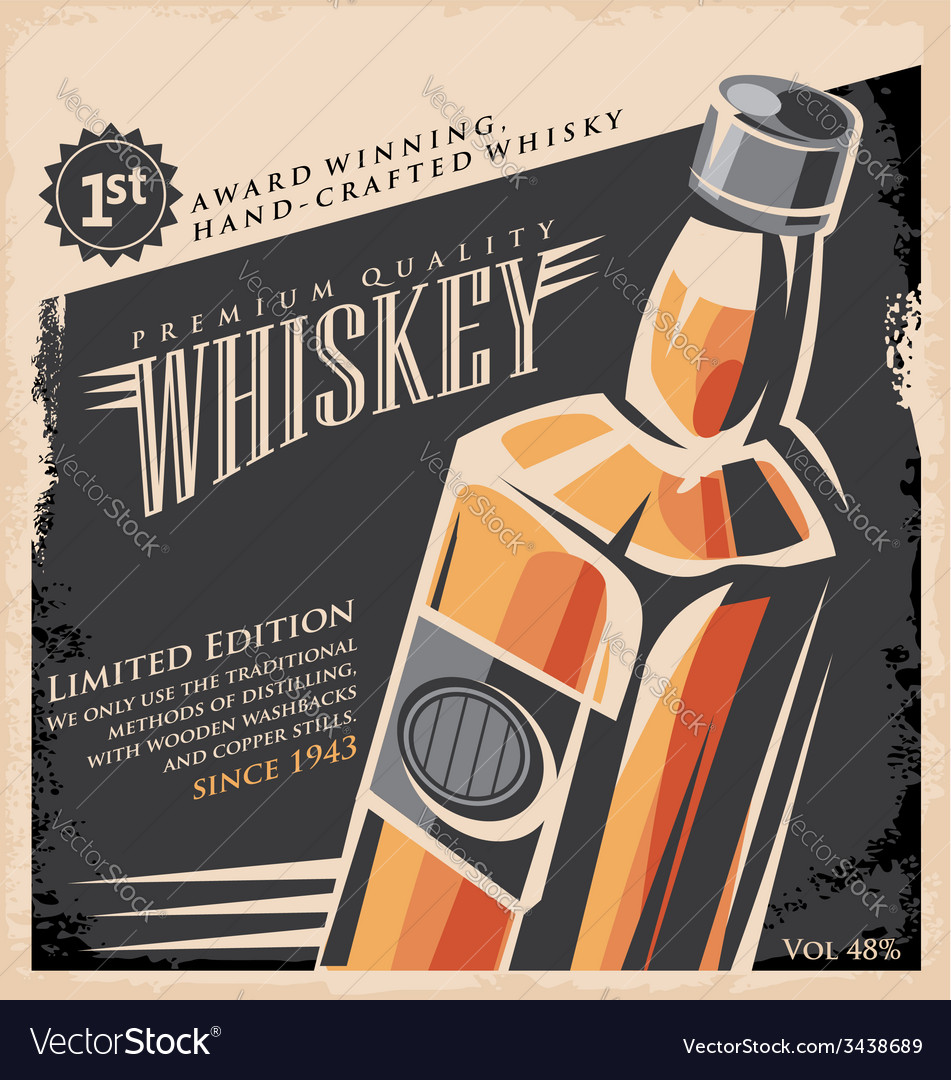 Poster design vector - Whiskey Vintage Poster Design Template Vector Image
