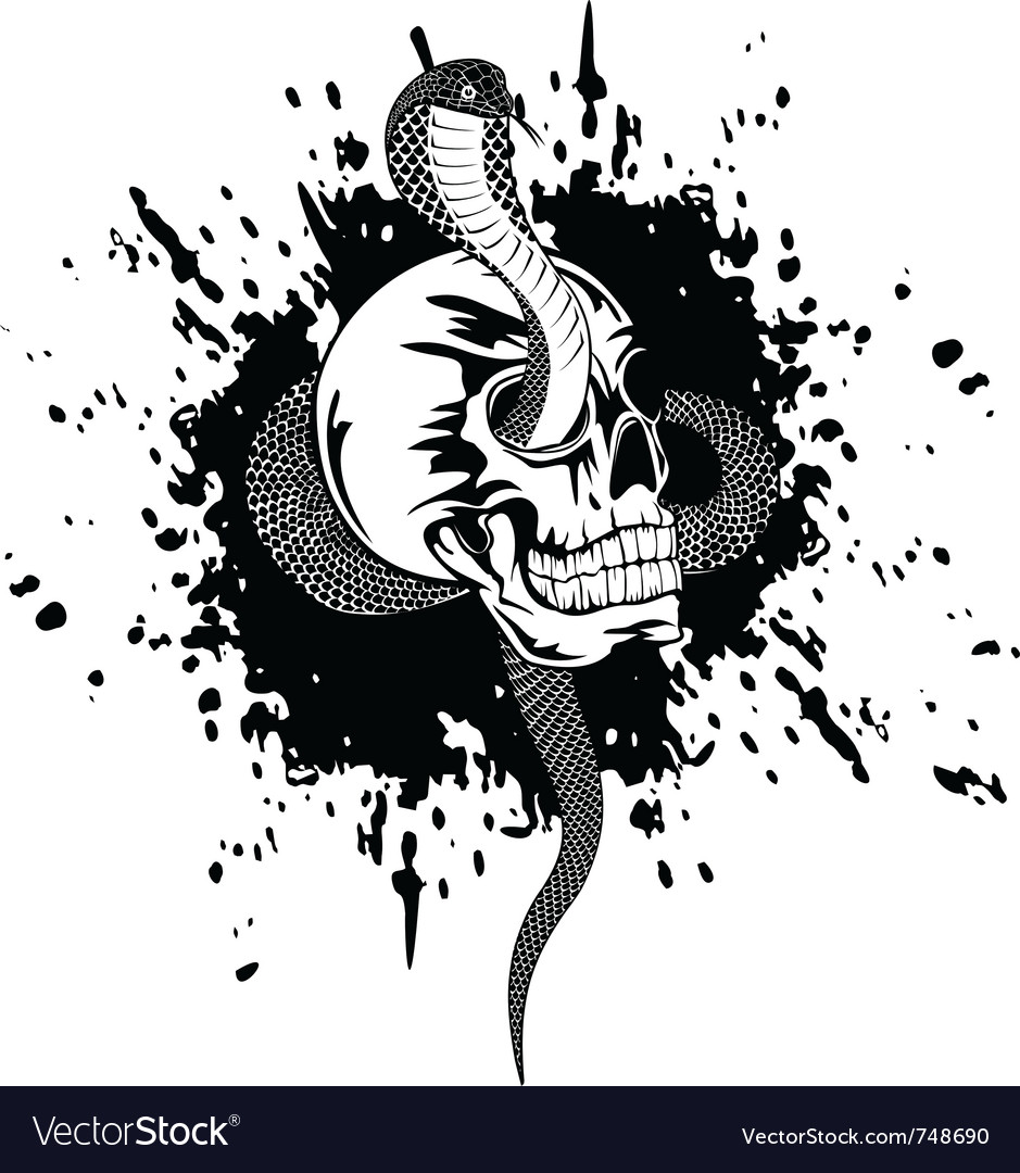 Skull and snake vector image