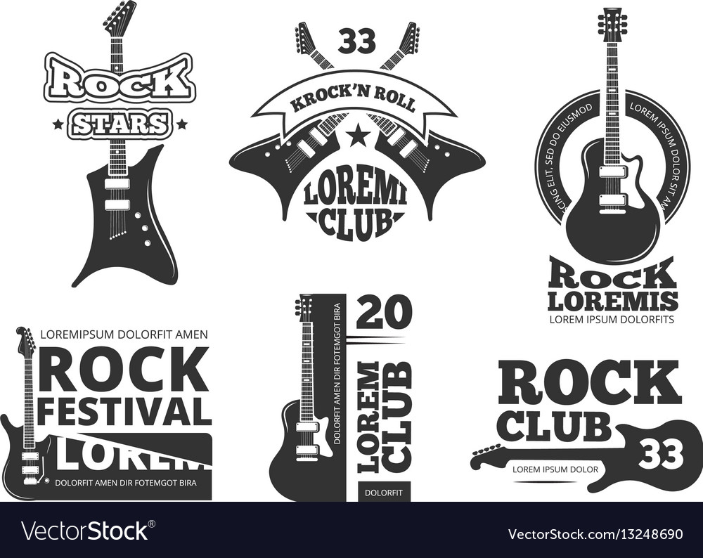 Vintage heavy rock jazz band guitar shop music vector image