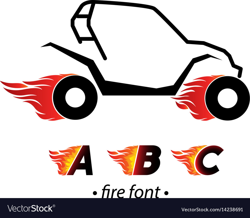 Fire and high speed letter vector image