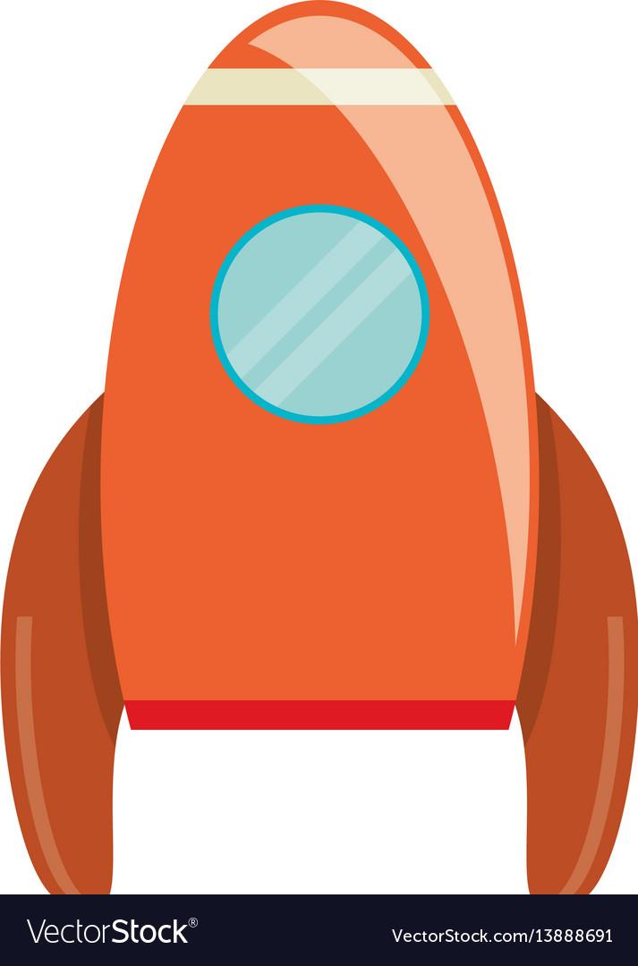 Orange rocket transport exploration image vector image