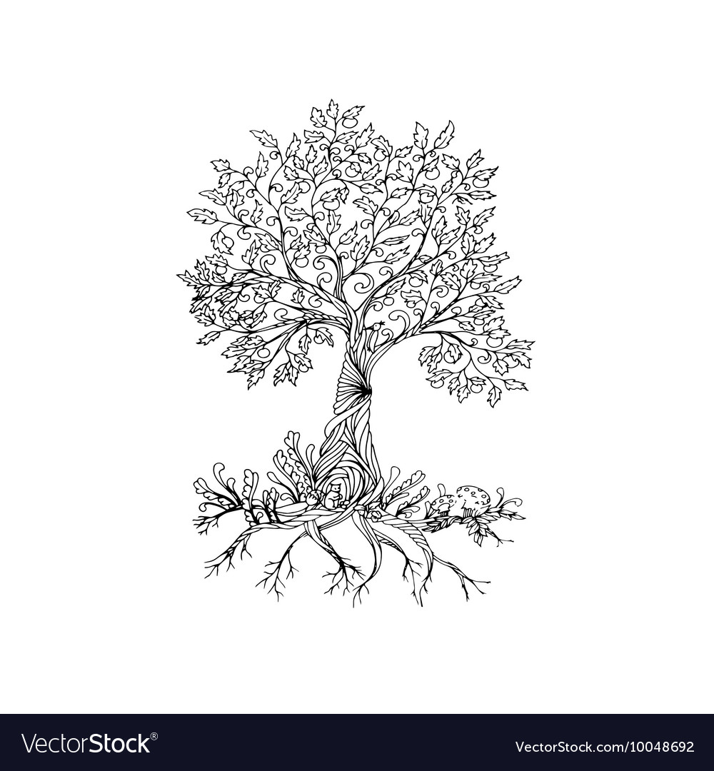 Fairy hand drawn black line art tree vector image