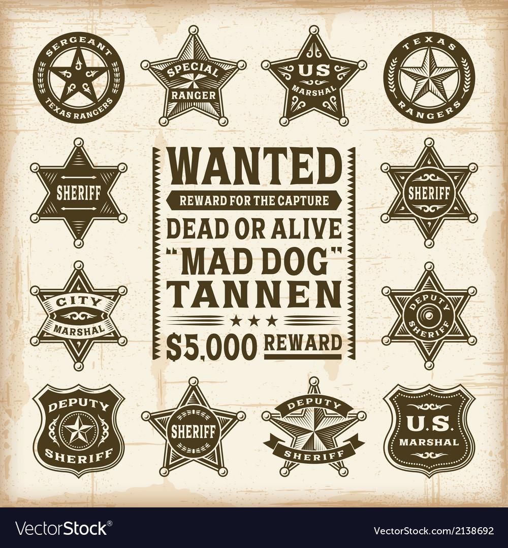 Vintage sheriff marshal and ranger badges set vector image