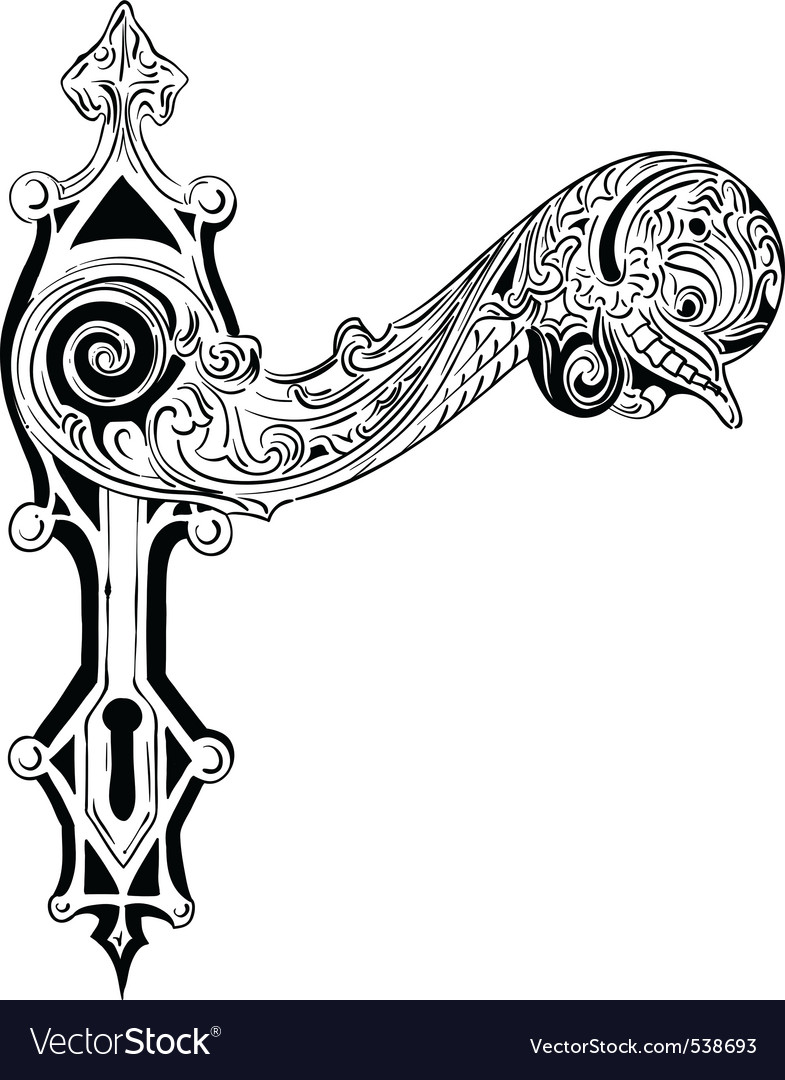 Decorative door handle on the white Vector Image