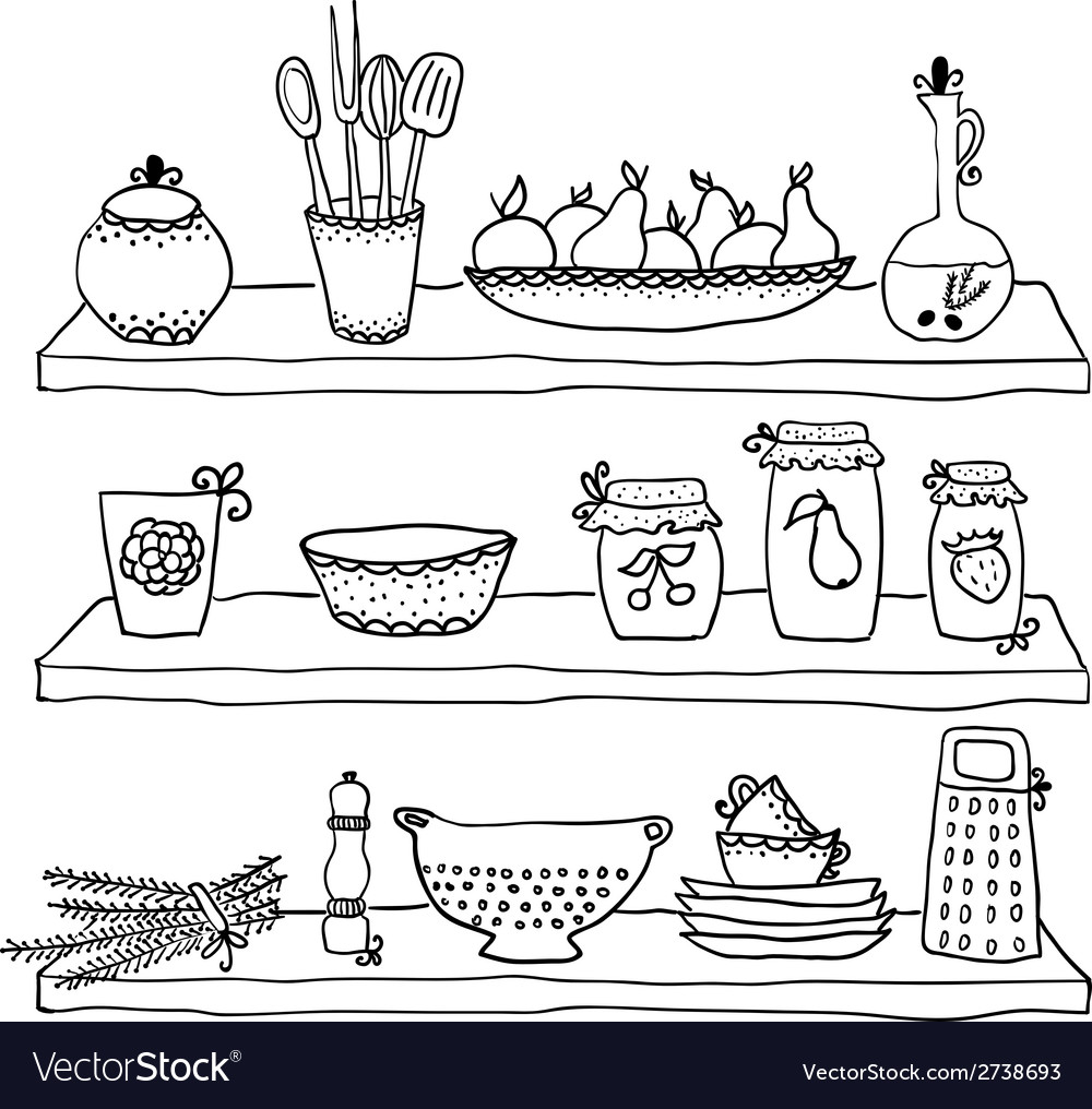 Kitchen Utensils Drawing On Shelves Sketch Vector Image