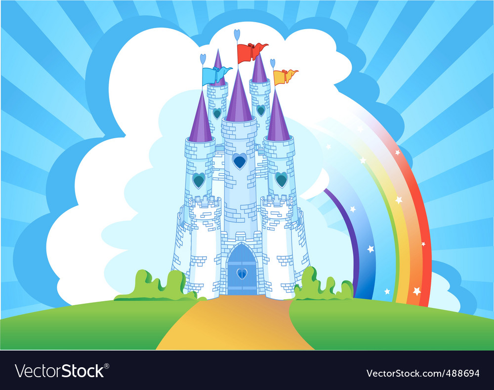 Magic castle invitation card vector image