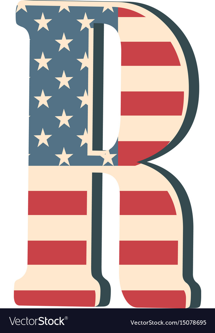 Capital 3d letter r with american flag texture vector image thecheapjerseys Images