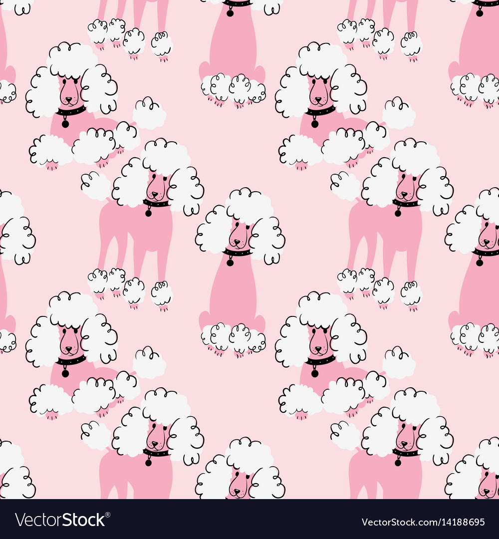 Doodle poodle seamless pattern vector image