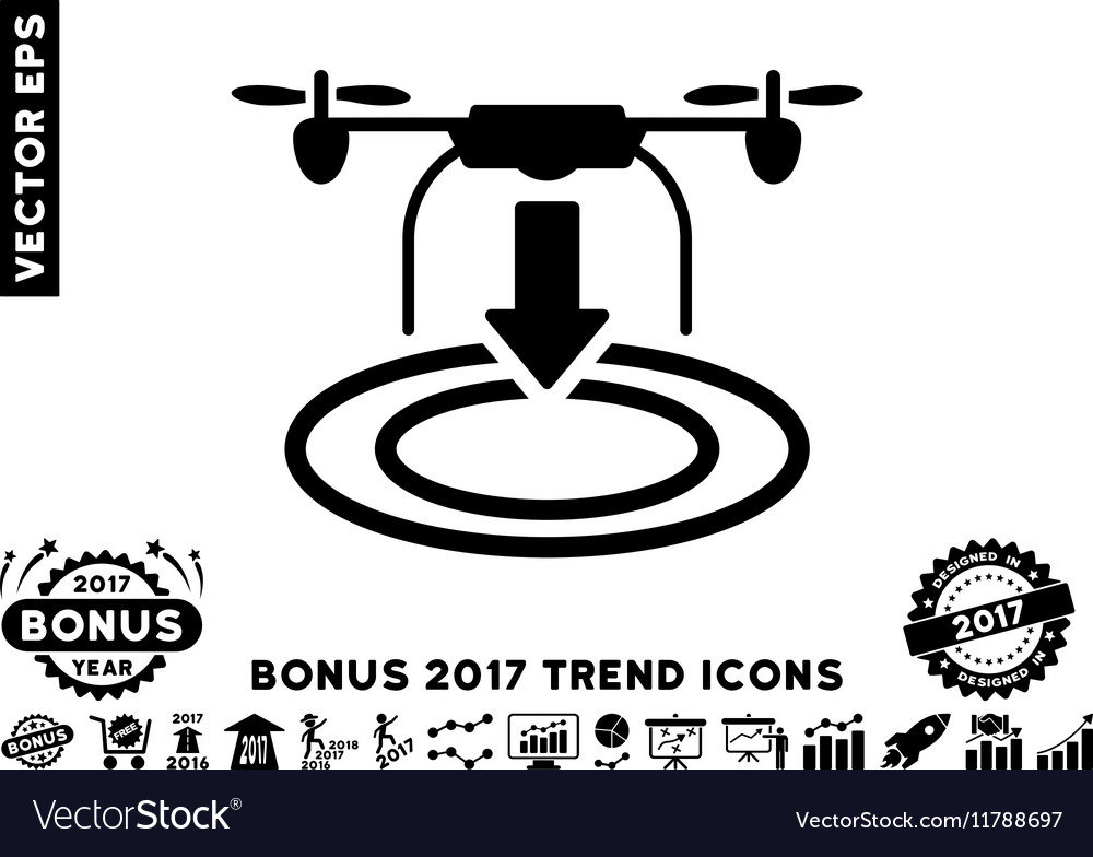 Drone Landing Flat Icon With 2017 Bonus Trend vector image