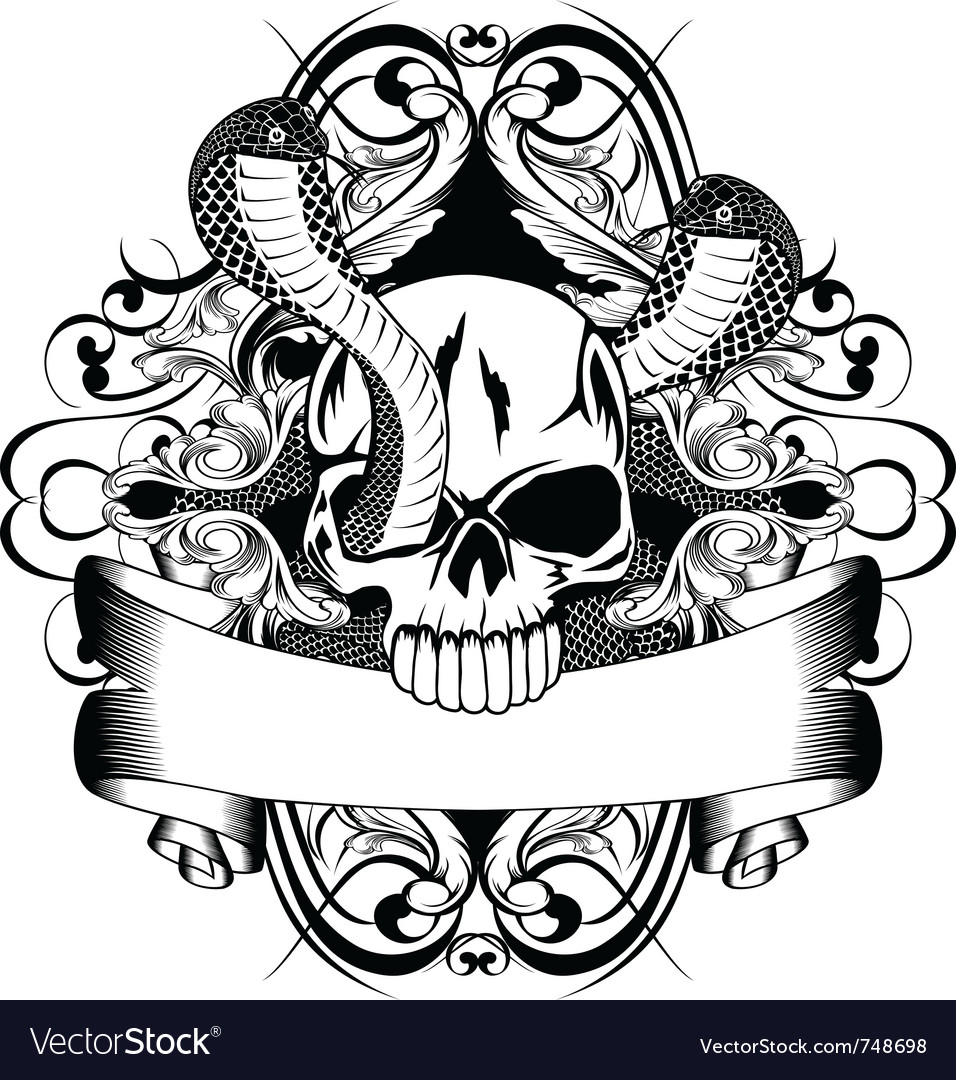 Skull and two snake vector image