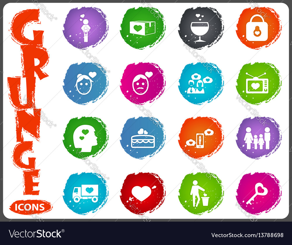 Valentine day icons set in grunge style vector image