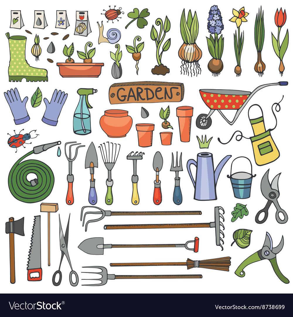 Spring garden doodle setColored toolsplants vector image