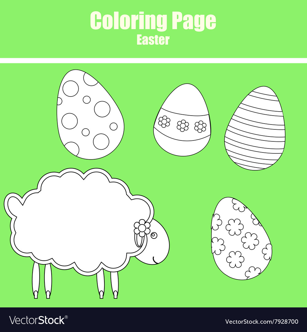 Coloring page Easter Royalty Free Vector Image