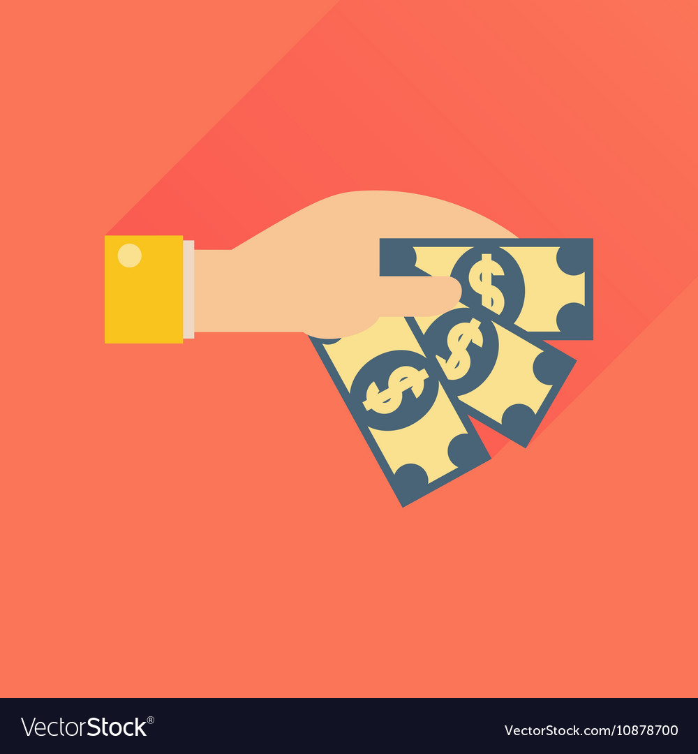 Hand gives money icon flat style