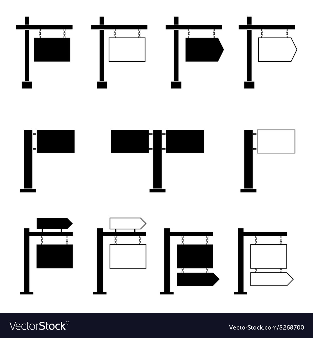 Signboard set black vector image