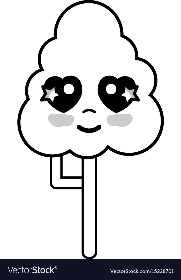 Line kawaii cute happy tree ecology vector image