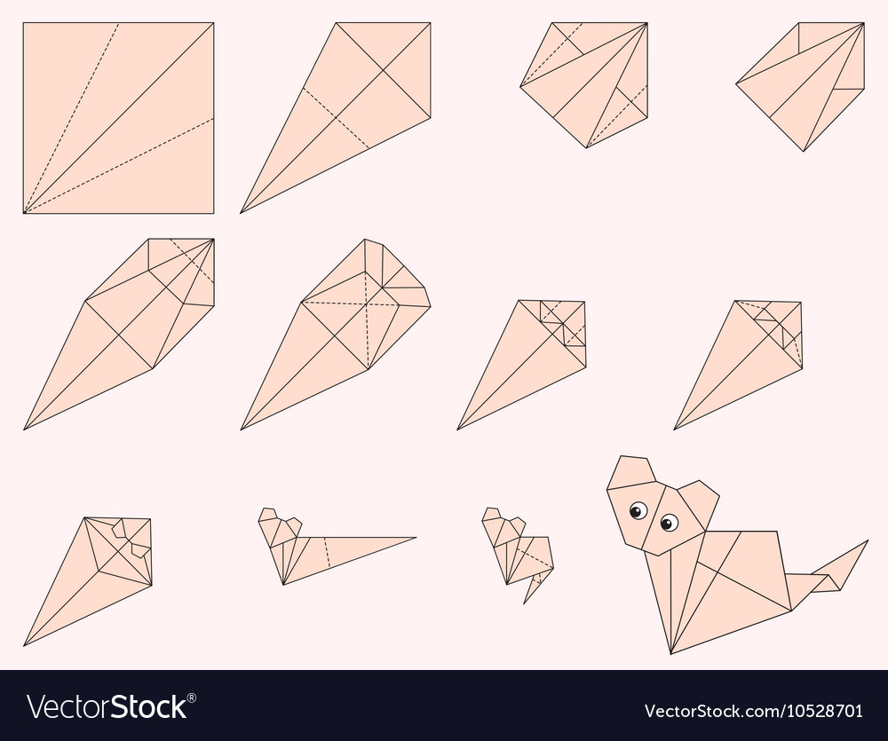 Origami Cat and Instruction vector image