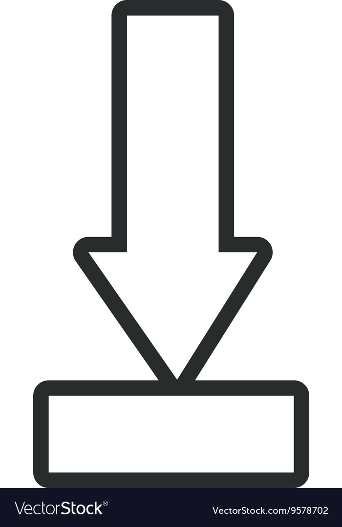 Black and white arrow pointing down vector image