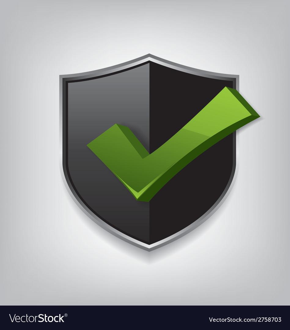 Empty black shield check mark vector image