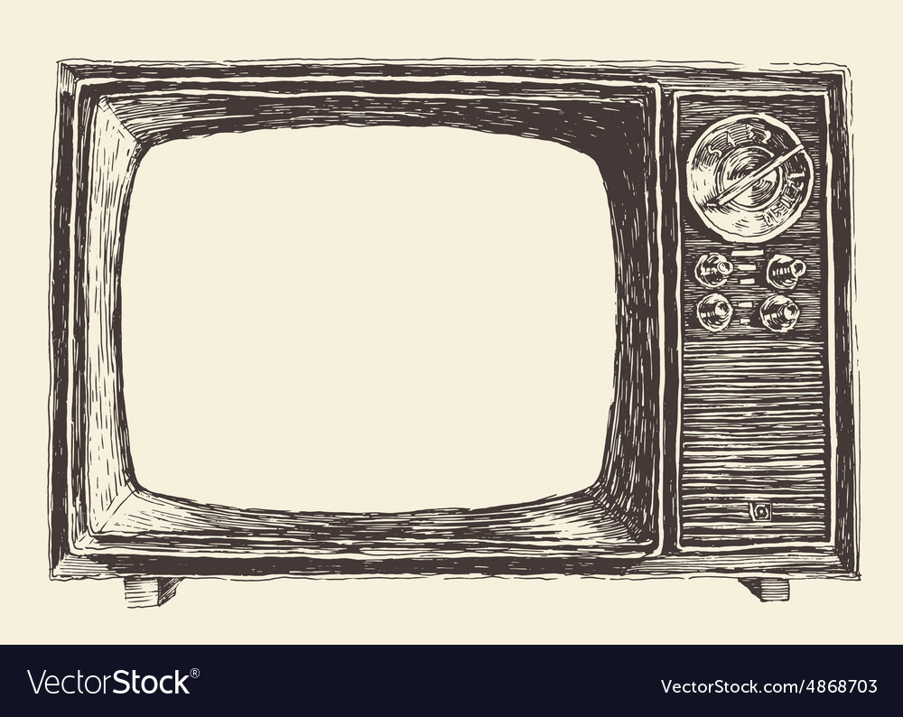 Retro Television Empty Screen Hand Drawn vector image