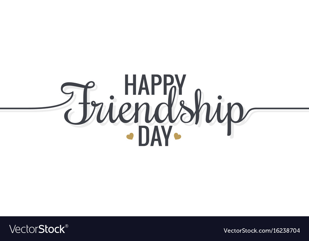 Friendship day lettering logo design background vector image