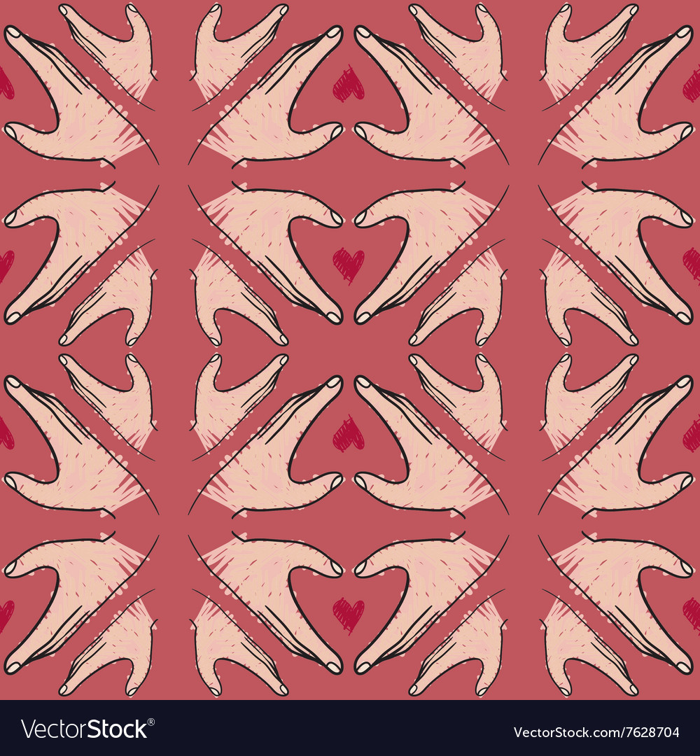Seamless pattern of hand in heart shape vector image