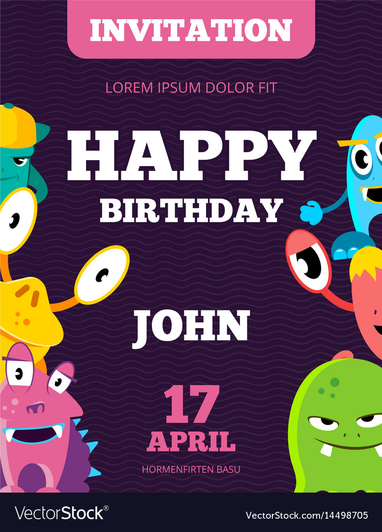 Children happy birthday invitation card vector image