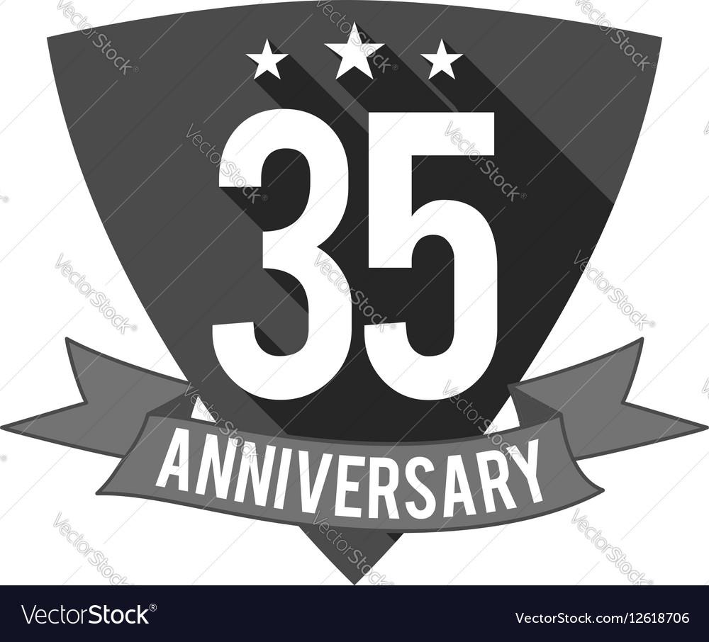 35 years Anniversary badge sign and emblem Flat vector image