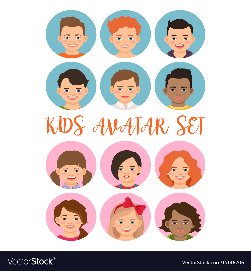 Kids boys and girls avatar set vector image