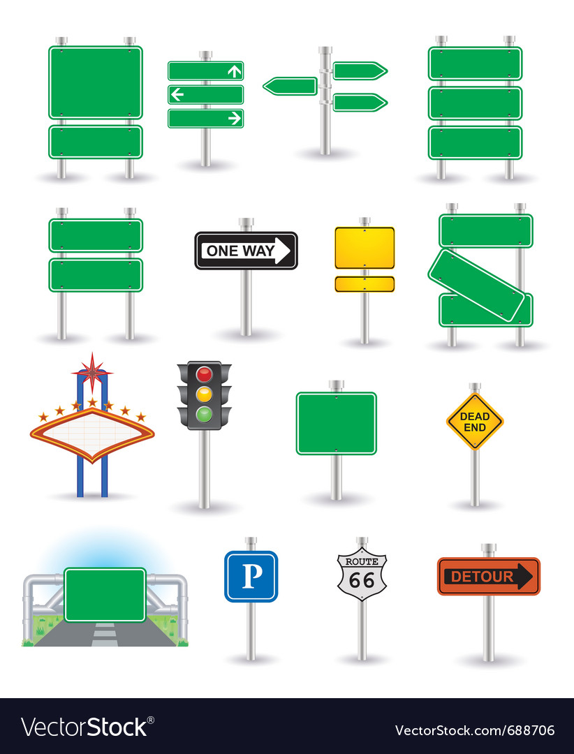 Set of green signs vector image