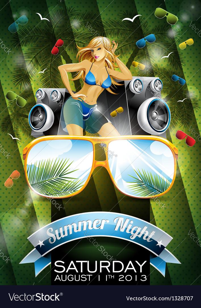 Summer Beach Party Flyer Design with sexy girl vector image