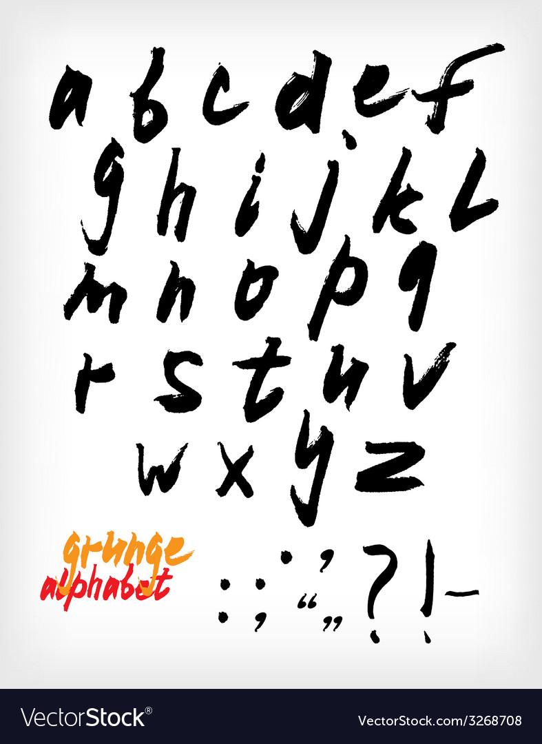 Grunge handwritten alphabet set vector image