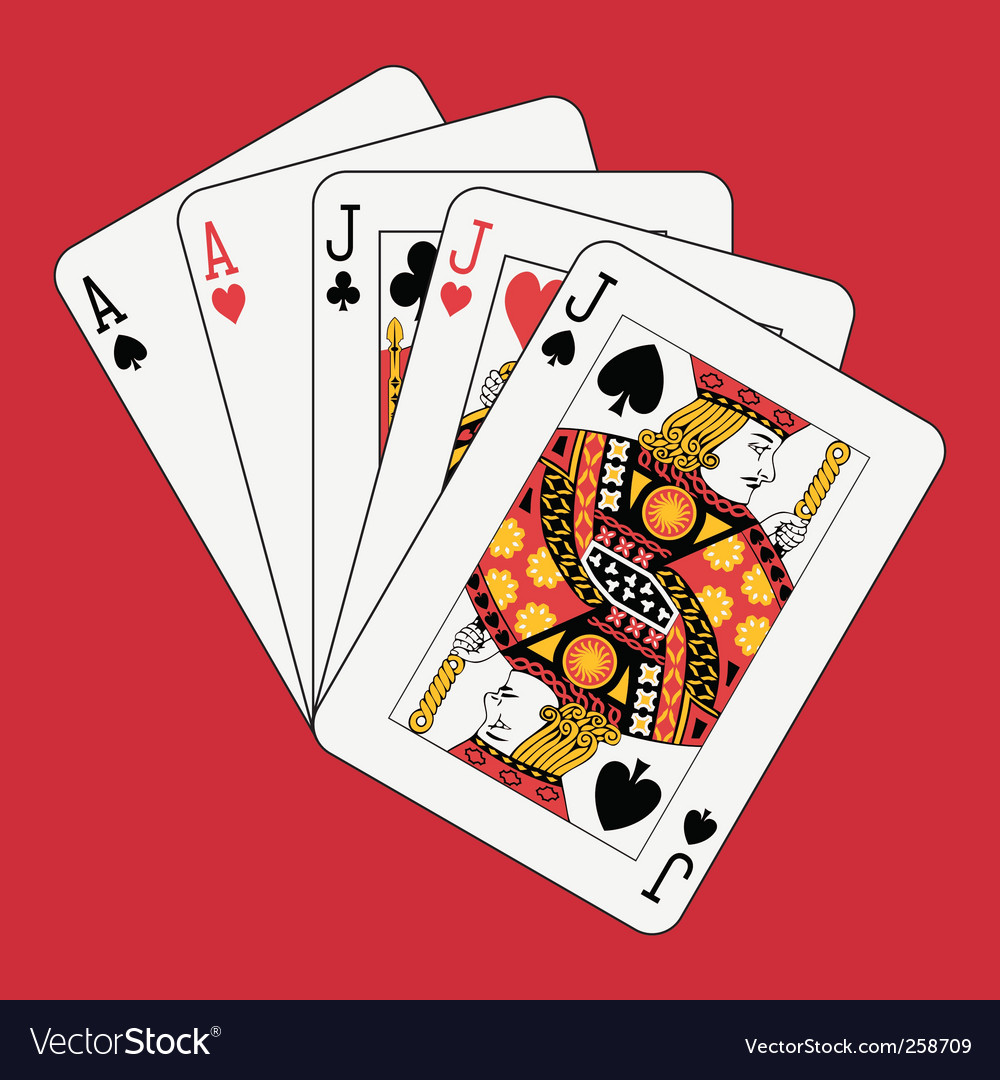 Full house jacks and aces vector image