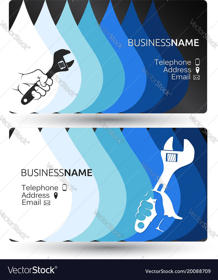 Plumbing business card concept Royalty Free Vector Image