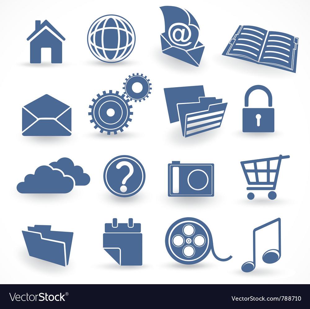 Blue technology icon set vector image