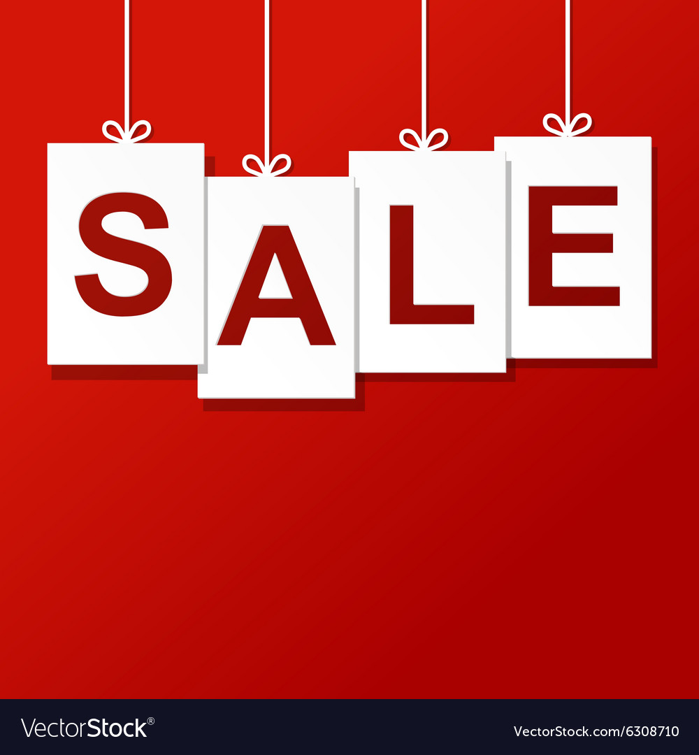 Sale paper label isolated on red vector image