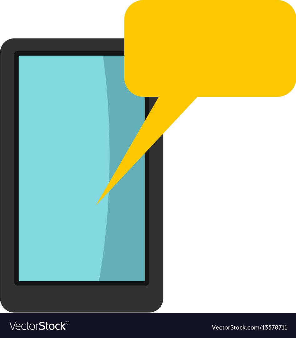 Smartphone with bubble speech icon flat style vector image