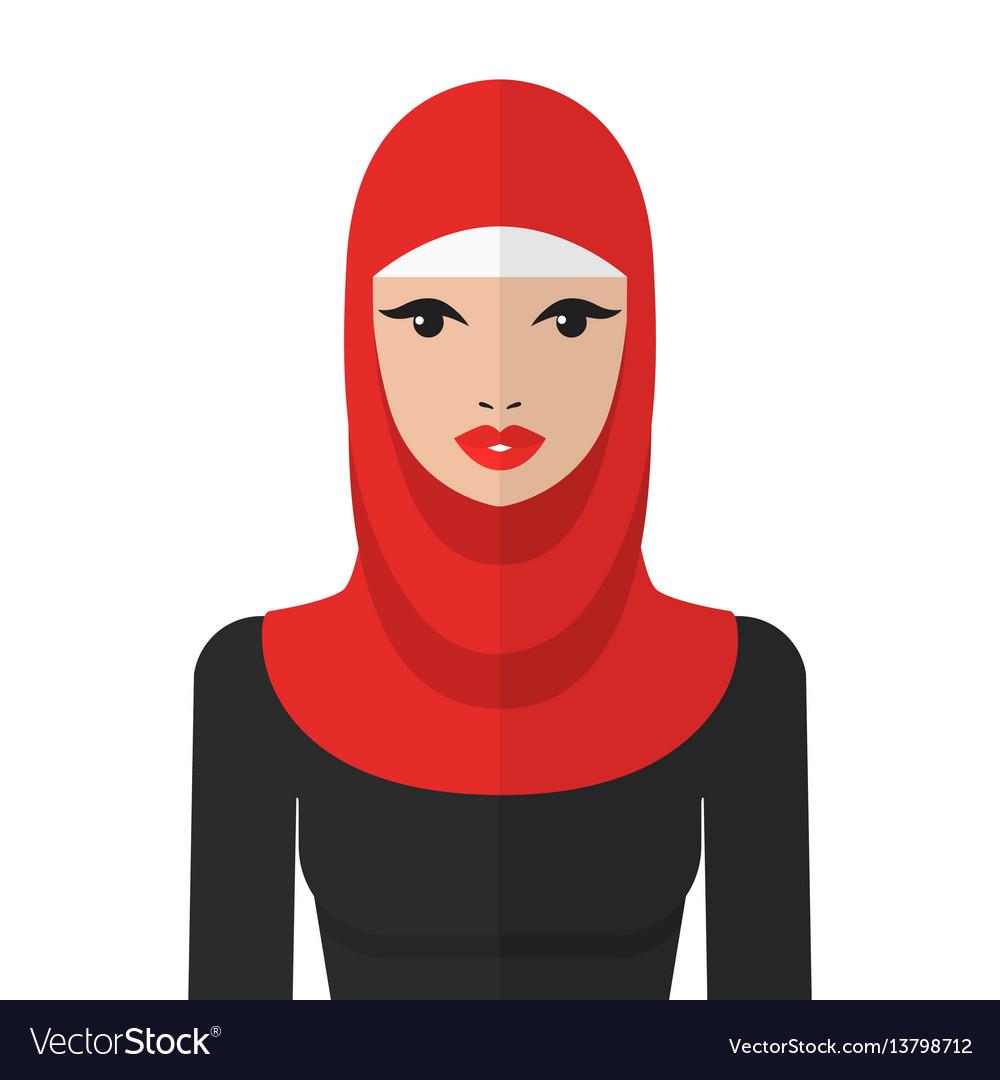 Beautiful muslim woman in hijab flat icon vector image